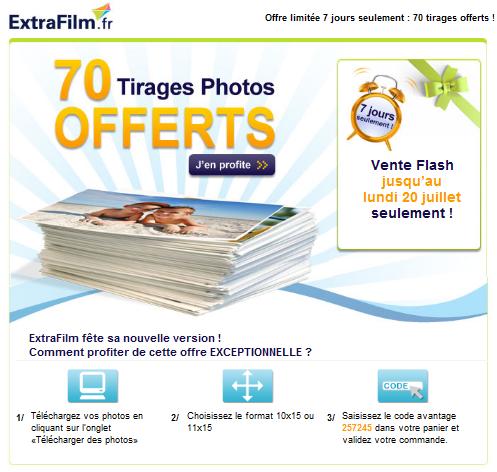 70 Tirages Photos gratuits