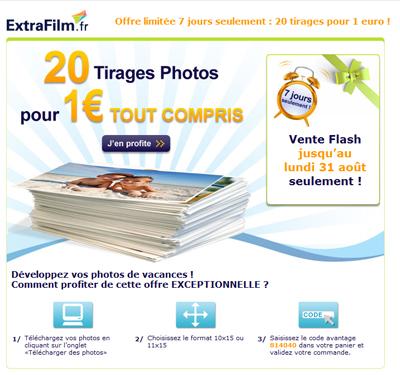 Extrafilm : 20 photos pour 1 euro