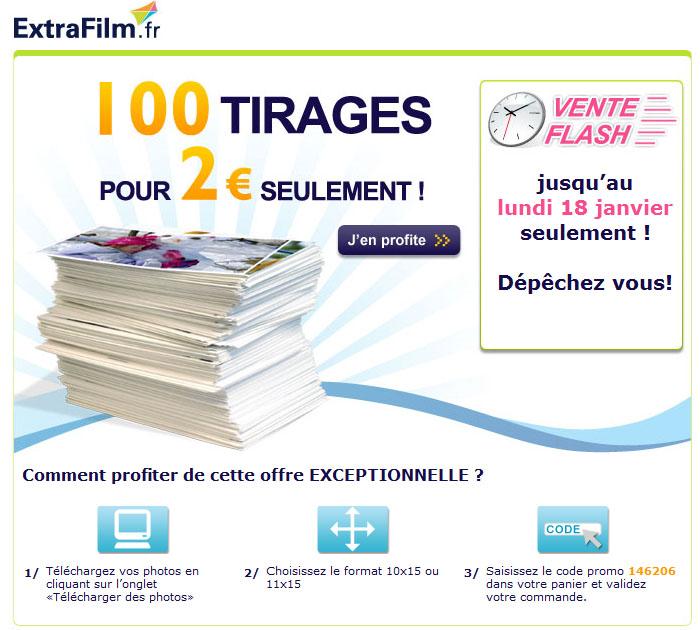 EXTRAFILM : 100 tirages photos pour 2 euros