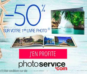 PhotoService : 50% sur votre 1er livre photo