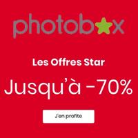 Jusqu'à 70% de réduction sur tous les produits avec Photobox