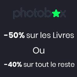 50% sur les livres photos ou 40% sur tout le reste du site avec Photobox
