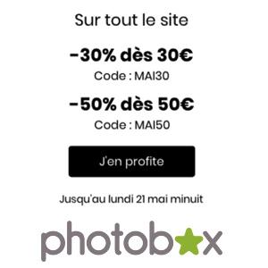 PHOTOBOX : Jusqu'à 50% sur tout le site jusqu'au 21 mai !