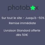 Photobox : Jusqu'à 50% de remise immédiate + la livraison offerte dès 50€ d'achats